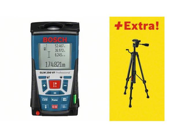 Дальномер лазерный BOSCH GLM 250 VF + BS 150 в кор. (0.05 - 250 м, +/- 1 мм/м, IP 54, штатив)