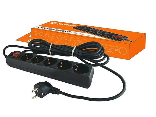 Сетевой фильтр 3м (5 роз., 3.5 кВт, с/з, выкл.) СФ-05В TDM (SQ1304-0002)
