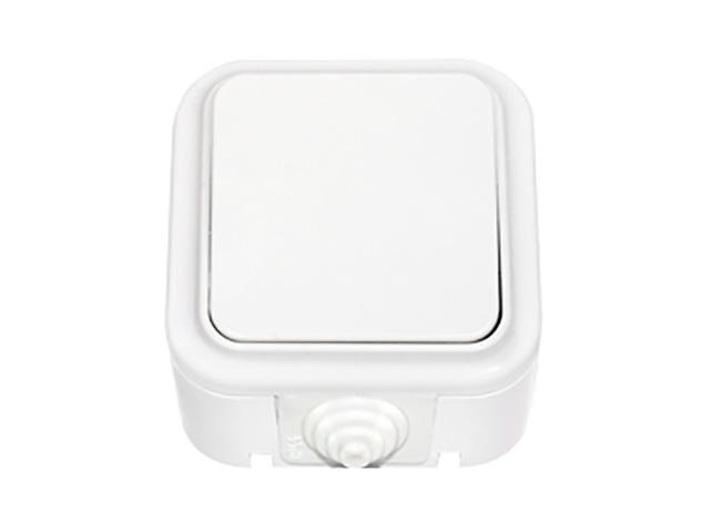 Выключатель 1 клав. проходной (открытый, 10А, брызг. защ.) белый, Пралеска Аква, BYLECTRICA (IP54 пылебрызгозащищенные)