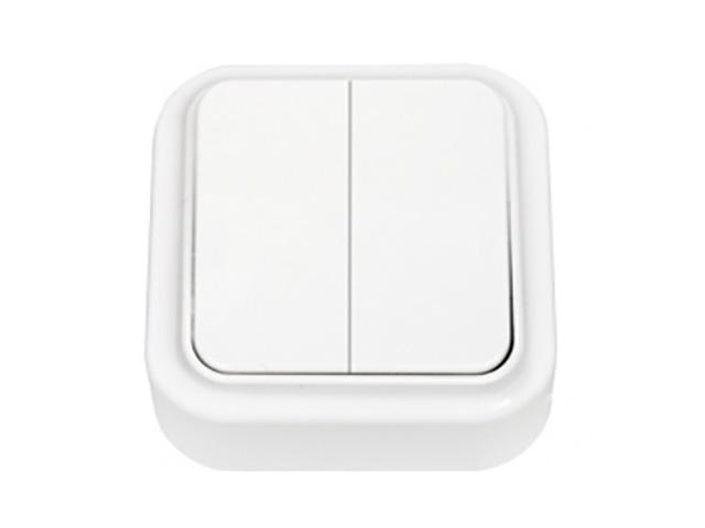 Выключатель 2 клав. (открытый, 6А) белый, Пралеска, Bylectrica