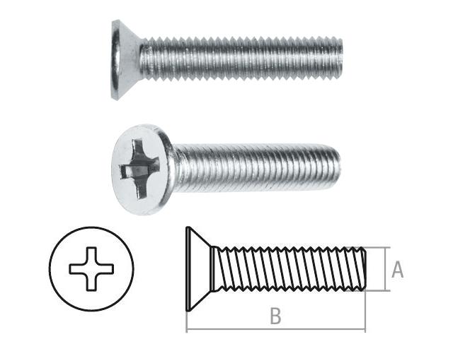 Винт М3х6 мм потай. головка, цинк, кл.пр. 5.8, DIN 965 (100 шт в зип-локе) STARFIX