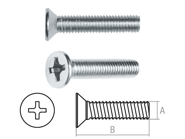 Винт М3х8 мм потай. головка, цинк, кл.пр. 5.8, DIN 965 (100 шт в зип-локе) STARFIX