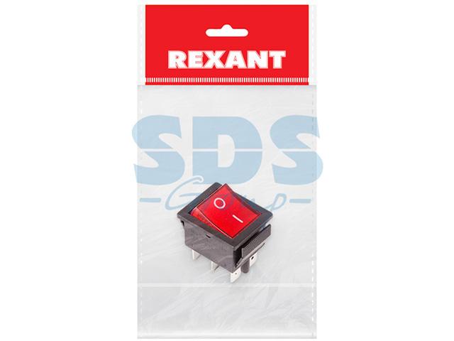 Выключатель клавишный 250V 15А (6с) ON-ON (RWB-506, SC-767) красный с подсветкой (инд.уп.) REXANT