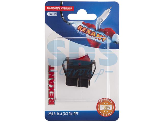 Выключатель клавишный 250V 16А (4с) ON-OFF красный с подсветкой (инд.уп.) REXANT