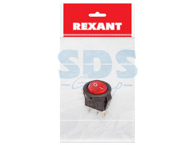 Выключатель клавишный круглый 250V 3А (3с) ON-OFF (RWB-106, SC-214) Micro красный с подсветкой (инд. (REXANT)