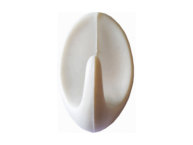 Крючок-вешалка самоклеющийся, однорожковый, 5 шт., бежевый, GARDENPLAST (h=50 мм, b=31 мм)