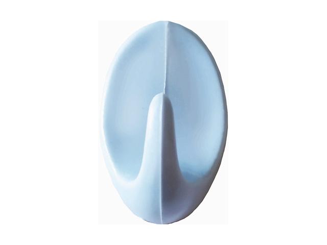 Крючок-вешалка самоклеющийся, однорожковый, 5 шт., светло-голубой, GARDENPLAST (h=50 мм, b=31 мм)