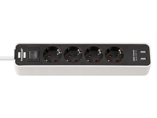 Удлинитель 1.5м (4 роз., 3.3кВт, с/з, 2 USB порта, выкл., ПВС) черный/белый Brennenstuhl Eco-Line (провод 3х1,5мм2; сила тока 16А; 2 USB порта, с/з -