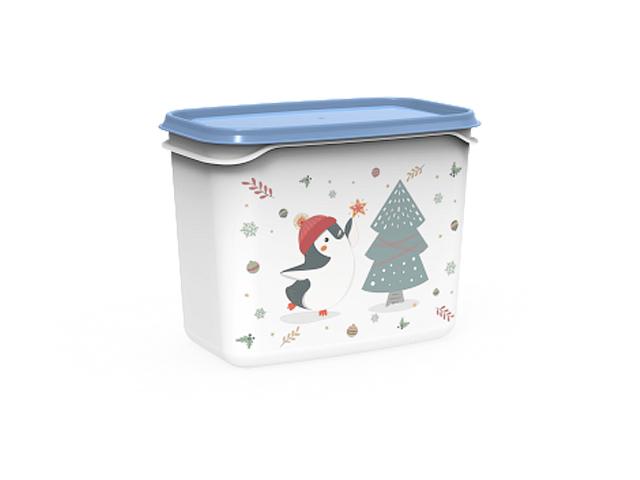 Контейнер Christmas, 1 л, васильковый, BEROSSI (Изделие из пластмассы.   Размер 160 х 101 х 123 мм)