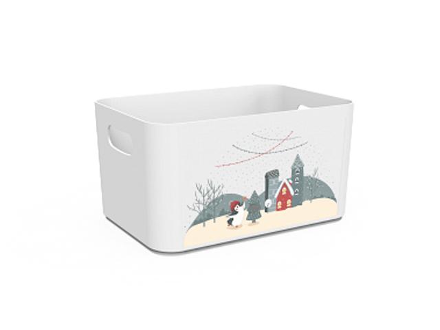 Корзина Christmas, снежно-белый, BEROSSI (Изделие из пластмассы. Литраж 2.4 литра  . Размер 227 х 158 х 121 мм)
