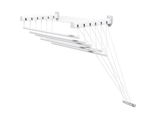 Сушилка для белья стеновая стальная 1,4 м, 6 стержней, белая, PERFECTO LINEA (6 стержней)