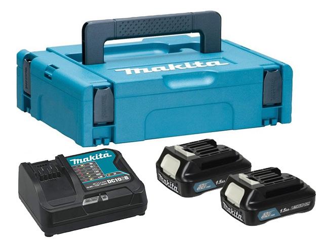 Комплект аккумулятор 12.0 В BL1016 2 шт. + зарядное устройство DC10SB в кейсе (Набор BL1016 12.0V 1,5 Ah 2 шт. + DC10SB) (MAKITA)