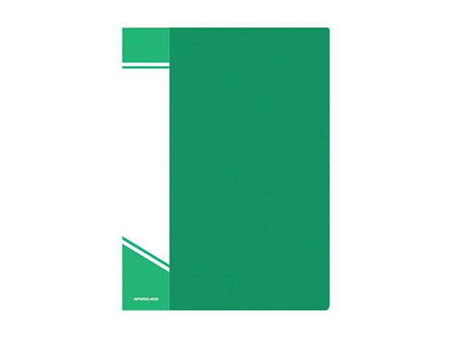 Папка с файлами inФОРМАТ А4 40 файлов зелен. пластик 600 мкм карман