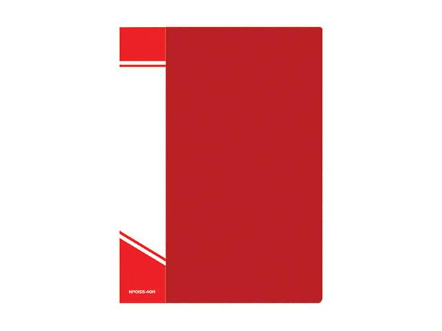 Папка с файлами inФОРМАТ А4 40 файлов красн. пластик 600 мкм карман
