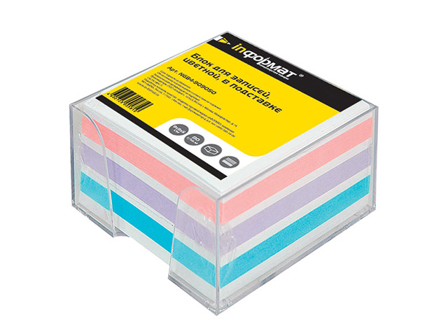 Подставка д/блок-кубиков inФОРМАТ с цв. бум. блоком 9х9х5 см  прозр. пластик