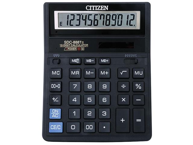 Калькулятор CITIZEN SDC-888T 12 р черный бухгалтерский