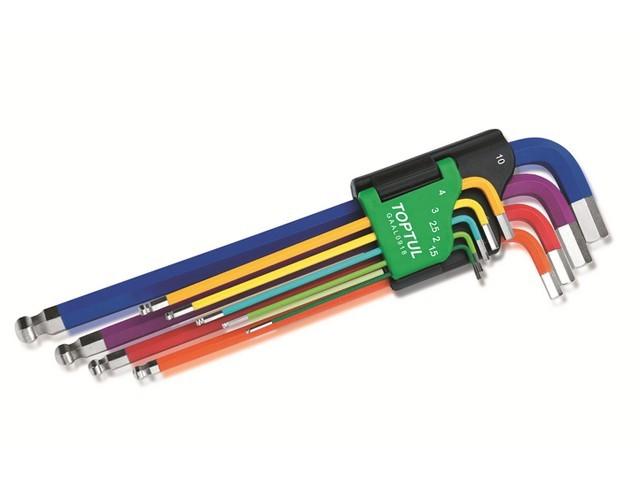 Набор ключей шестигр. 1,5-10мм 9шт экстра-длин.с шар. цветные TOPTUL (GAAL0918)