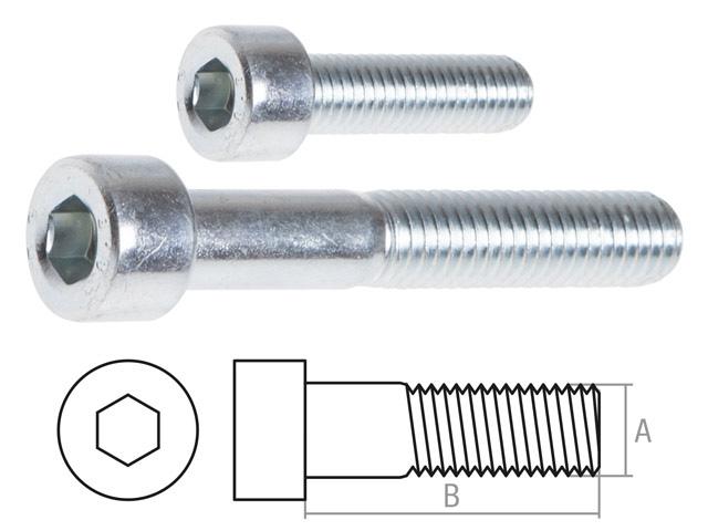 Винт М8х35 мм с внутр. шестигр., цинк, DIN 912 (50 шт в карт. уп.) STARFIX (неполная резьба)