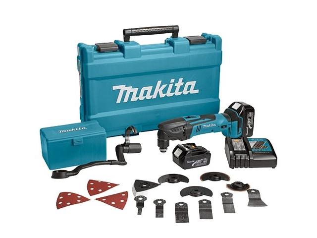 Аккум. многофункциональный инструмент (реноватор) MAKITA DTM 50 RFEX 3 в чем. + набор оснастки (18.0 В, Li-Ion, 2 акк., 3.0 А/ч, 21000 об/мин)