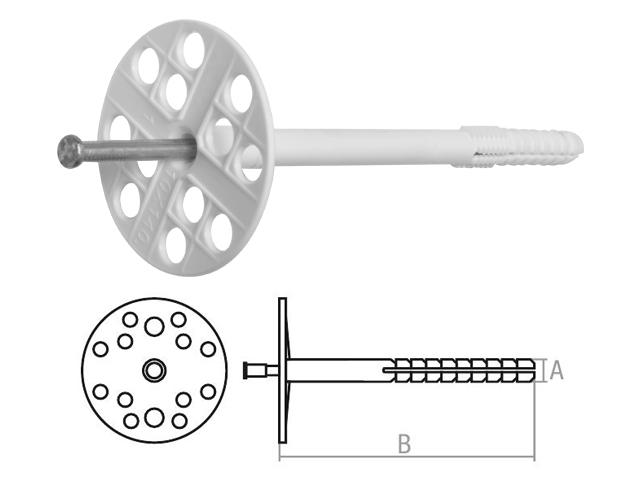 Дюбель для теплоизоляции 10х300 мм с металлич. гвоздем (400 шт в коробе) STARFIX