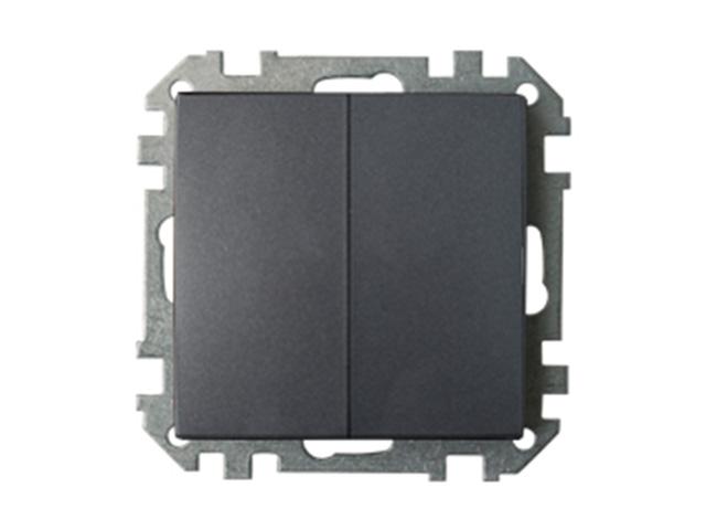 Выключатель 2 клав. (cкрытый, 10А) графит, Стиль, Bylectrica