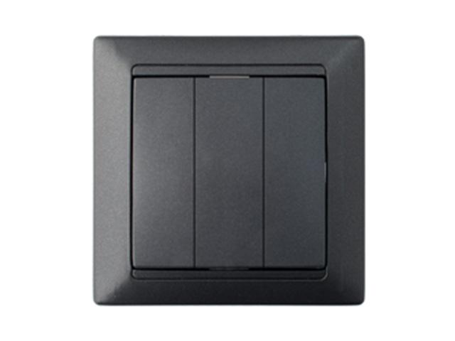 Выключатель 3 клав. (cкрытый, 10А) графит, Стиль, Bylectrica